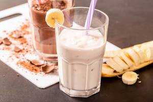 Milk shake with banana and ice cream