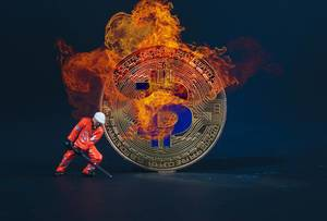 Miner with Bitcoin in flames
