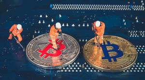 Miners with silver and golden Bitcoin