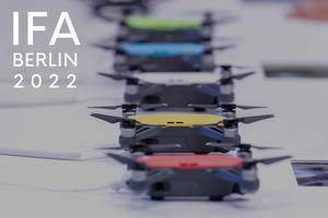 Mini drones in various colours, next to the picture title IFA BERLIN 2022