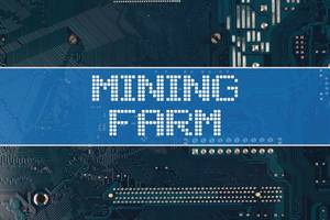 Mining farm text over electronic circuit board background