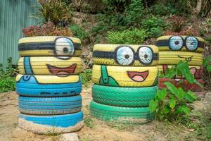 Minions designed with Tires along the Fairy Stream of Mui Ne, Vietnam