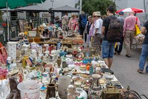 Miscellaneous used goods at the Naschmark flea market in Vienna
