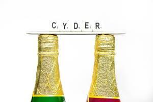 Mit goldener Folie eingepackte Flaschenhälse mit dem Schriftzug CYDER