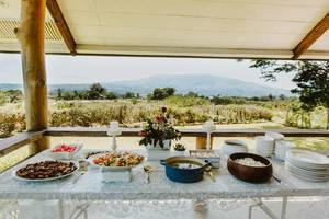 Mittagsbuffet mit Gemüse, Reis und Fleisch vor wunderschöner Aussicht in die Natur