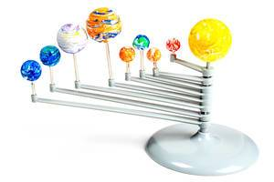 Model of the solar system on a white background