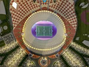 Modell des Khalifa International Stadions von oben fotografiert