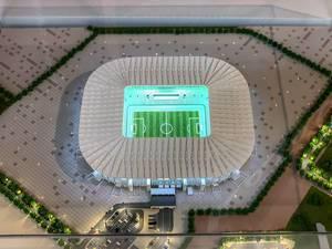 Modell des Ras Abu Aboud Stadions von oben fotografiert