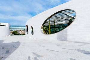 Modern geometric openning in a wall of Champalimaud Foundation  Flip 2019