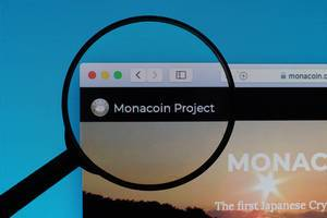 Monacoin Project logo under magnifying glass