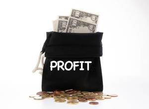 Money bag with Profit text on white background