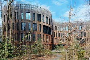 Moodern wooden building of Potsdam Institute for Climate Impact Research