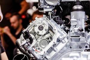 Motor Audi-Top-Modell R8 V10 plus bei der IAA 2017 in Frankfurt am Main