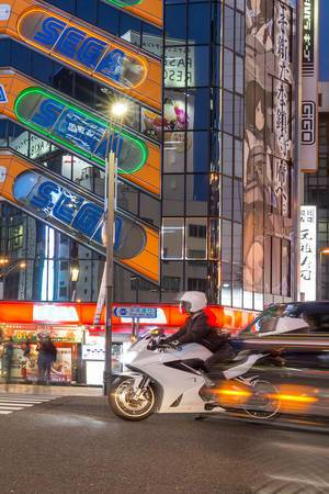 Motorbike in Akihabara at night