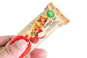 Muesli Bar package in the hand