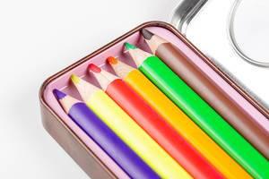 Multi-colored pencils in a pencil case close-up (Flip 2020)