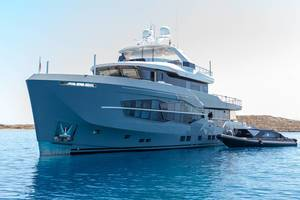 Multi-storey luxury yacht by Performance Motor Yacht Builder Numarine, on the blue sea in the Aegean Sea