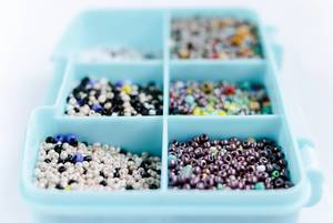 Multicolored assorted beads set in a box