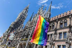 Munich adapts to the annual Christopher Street Day and raises rainbow flags for the Gay Pride Parade during Christopher Street Day