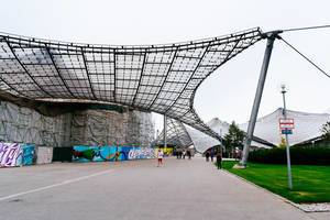 Munich Olympiastadion - suspended glass & steel structure