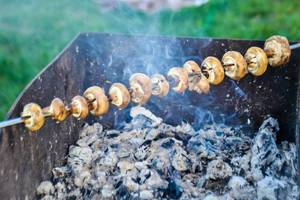 Mushrooms on skewers
