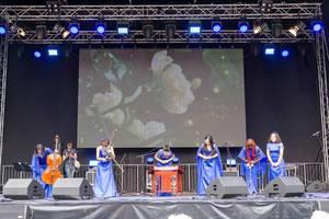 Musiktruppe spielt auf traditionellen chinesischen Instrumenten - Chinafest, Köln