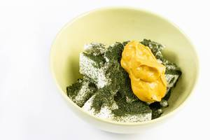 Mustard on the White Cheese with dried Dill