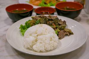Mustard Pickled Beef with Rice and Soup in Ho Chi Minh City