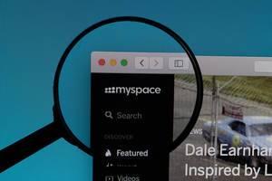 Myspace website under magnifying glass