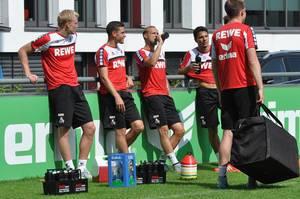 Nach dem Training: Sörensen, Hector, Risse und Hosiner
