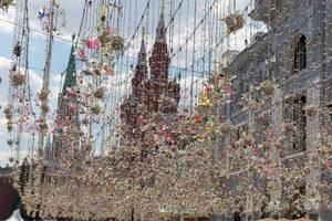 Nahaufnahme der Straßendekoration in Moskau