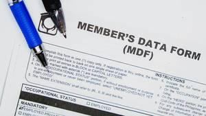 "Nahaufnahme des Datenformulars ""Member"