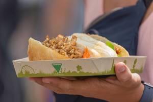Nahaufnahme eines Sandwichs mit Hühnchen auf kompostierbarem Teller am Tomorrowland Festival 2019