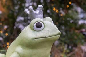 Nahaufnahme Gartendekoration Froschkönig mit silberner Krone