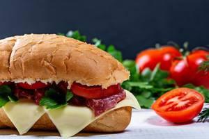 Nahaufnahme und Seitenansicht von einem belegten Sandwich mit Salami, Schablettenkäse und frischem Gemüse