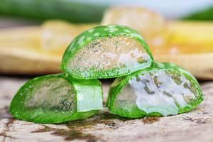 Nahaufnahme von frischen Aloe Vera Scheiben