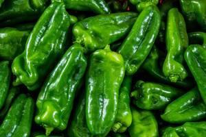 Nahaufnahme von grünen Paprikas