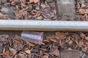 Nahaufnahme von Schiene mit Steinen, Laub und einem Plastikbecher mit Aufdruck des 1. FC Köln