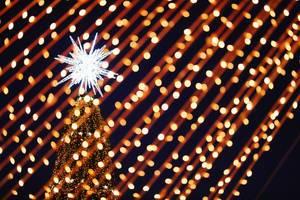 Nahaufnahme von Weihnachtslichtern mit Bokeh und beleuchtetem Weihnachtsbaum mit großem weißem Stern