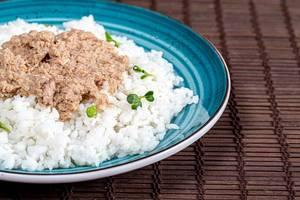 Nahaufnahme von weißem Reis mit Thunfisch, auf einem blauen Teller