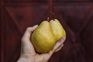 Nahaufnahme zweier Birnen in einer Hand