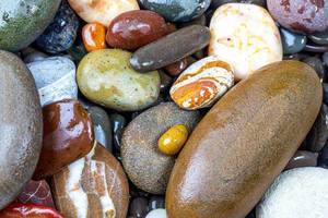 Natural background of wet multicolored sea stones (Flip 2019)