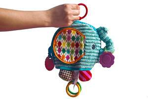 Natural cotton elephant rattle in mother