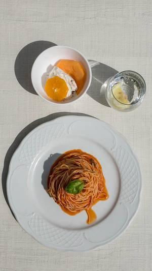 Neapolitan Spaghetti top-down view