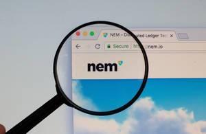NEM-Logo am PC-Monitor, durch eine Lupe fotografiert