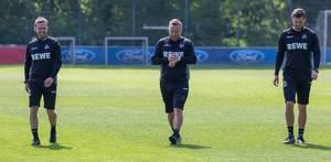 Neues 1. FC Köln Trainergespann André Pawlak und Manfred Schmid auf dem Fußballplatz am Geißbockheim - Clubhaus
