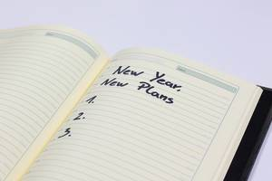 New year resolutions written in a notebook