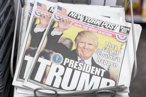 New york post with trump as president-elect as the title