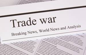 Newspaper with the headline Trade war