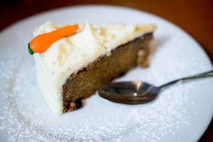 Nicely decorated slice of carrot cake